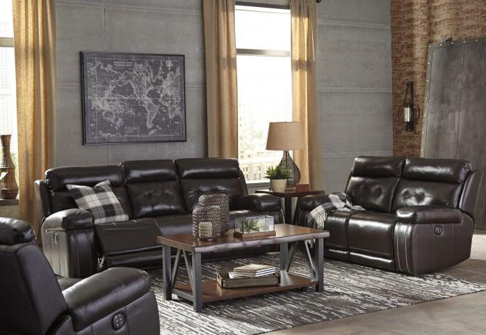 Graford Walnut Power Reclining With Adjustable Headrest Living Room Set