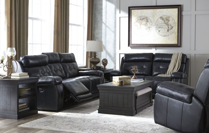 Graford Navy Power Reclining With Adjustable Headrest Living Room Set