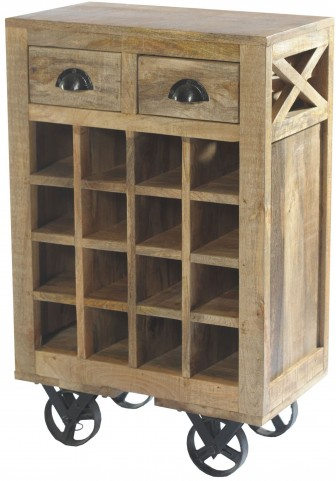 Amara Wooden Wine Cart With Rack On Wheels