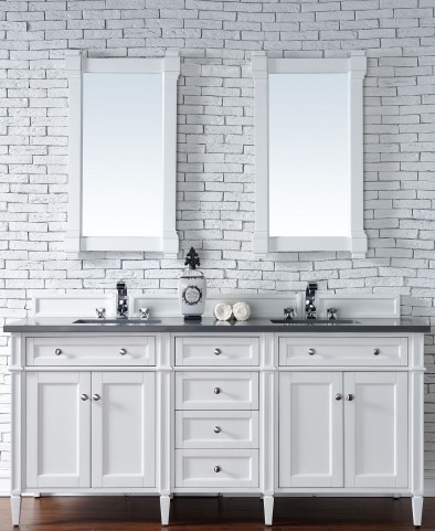 Brittany 72 Cottage White Double Vanity With 3cm Shadow Gray Quartz