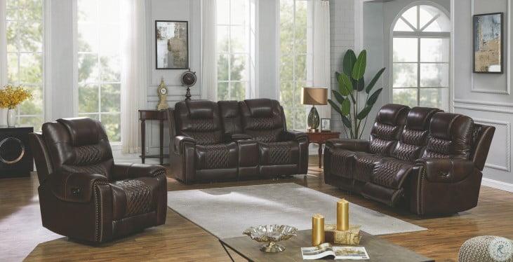 North Dark Brown Power Reclining Power Headrest Living Room Set