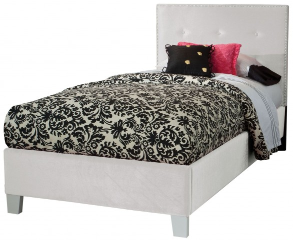 Young Parisian White Twin Upholstered Bed