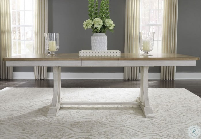 Farmhouse Reimagined Antique White Extendable Trestle Dining Table