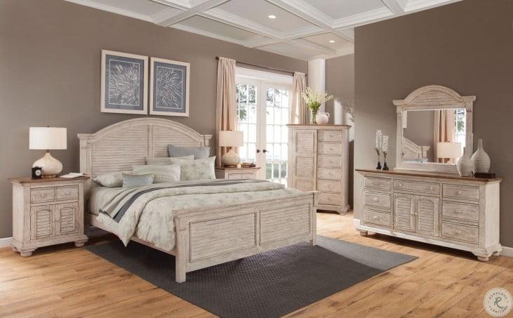 Cottage Traditions Crackled White Arched Panel Bedroom Set