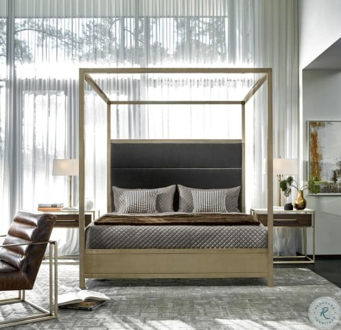 Harlow Gold And Gray King Poster Canopy Bedroom Set From