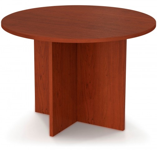 """Bestar 42"""" Round Meeting Table With 1"""" Melamine Top In Bordeaux"""