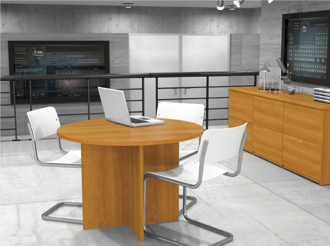 """42"""" Round Meeting Table With 1"""" Melamine Top In Cappuccino Cherry"""
