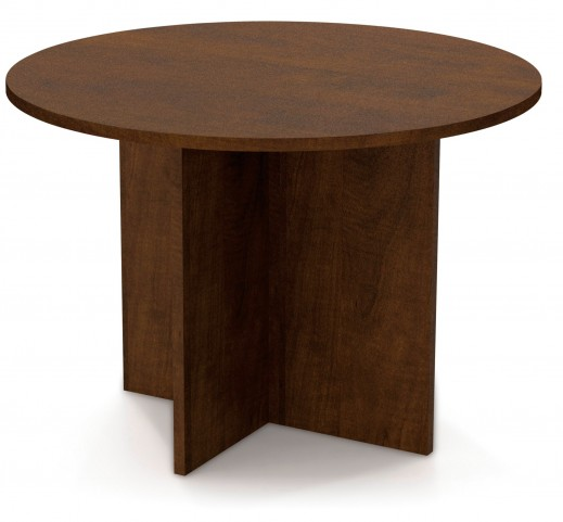 """Bestar 42"""" Round Meeting Table With 1"""" Melamine Top In Chocolate"""