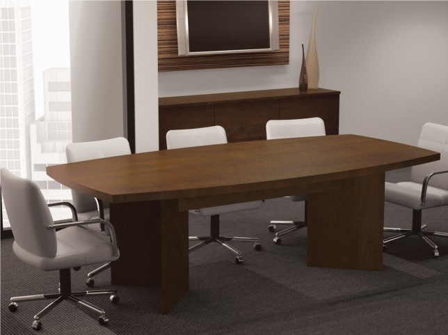 """Boat Shaped Conference Table With 1 3/4"""" Melamine Top In Chocolate"""