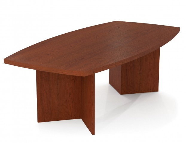"""Boat Shaped Conference Table With 1 3/4"""" Melamine Top In Bordeaux"""