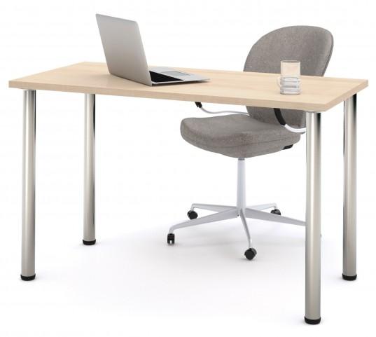 "48"" Northern Maple Round Metal Leg Table"