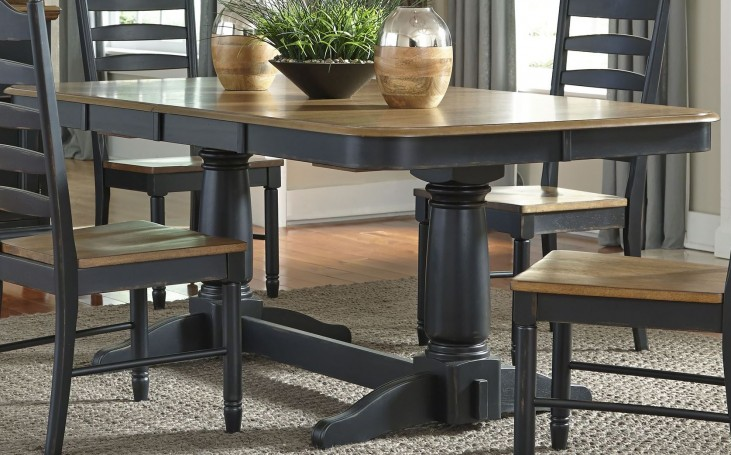 Springfield II Honey and Black Extendable Double Pedestal Dining Table