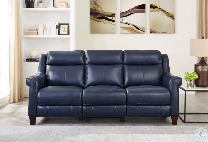 Dolce Blue Power Reclining Sofa with Power Headrest