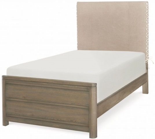 Big Sky by Wendy Bellissimo Weathered Oak Twin Upholstered Bed