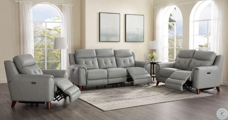 Torino Gray Leather Power Reclining Power Headrest Living Room Set