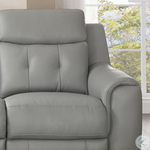 Strange Torino Gray Leather Power Reclining Loveseat With Power Headrest Squirreltailoven Fun Painted Chair Ideas Images Squirreltailovenorg