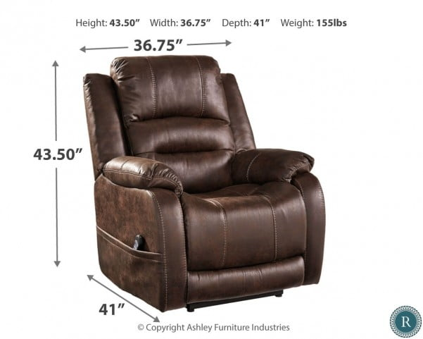 4918f0ae50 Barling Walnut Power Recliner With Adjustable Headrest from Ashley |  Coleman Furniture