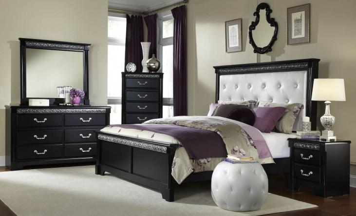 Venetian Black Panel Bedroom Set