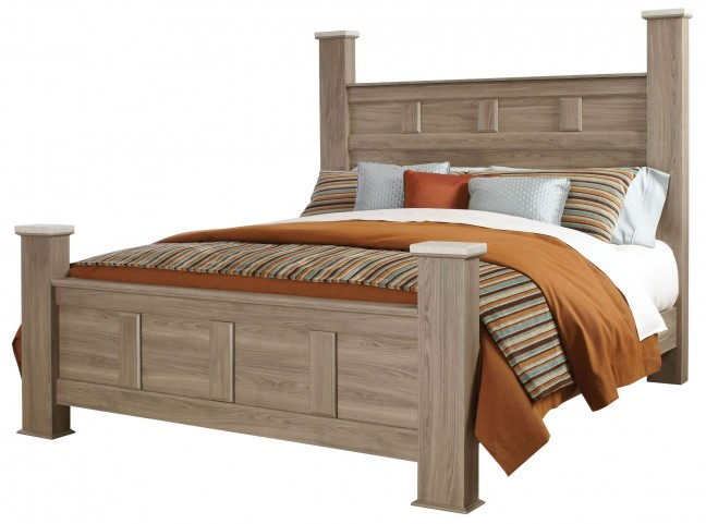 Stonehill Weathered Oak King Poster Bed