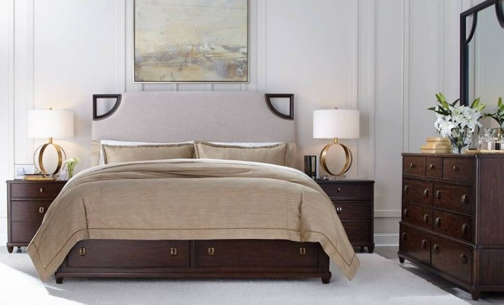 Virage Truffle Upholstered Storage Bedroom Set