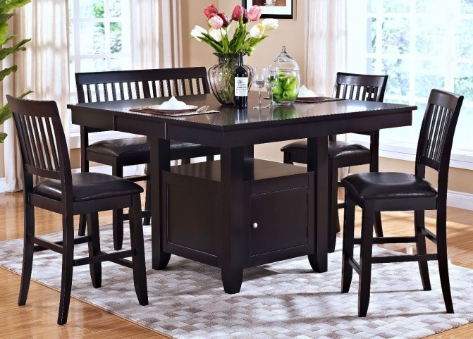 Kaylee Espresso Counter Height Storage Extendable Dining Room Set
