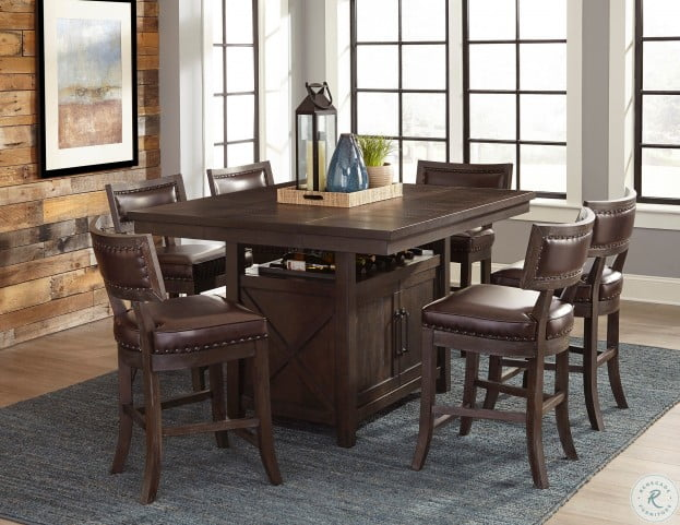 Oxton Distressed Dark Cherry Counter Height Dining Room Set