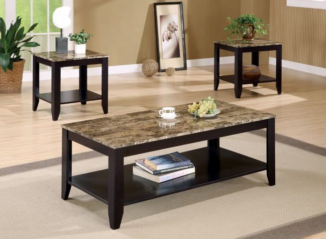 3 Piece Occasional Table Set With Marble Look Top - 700155