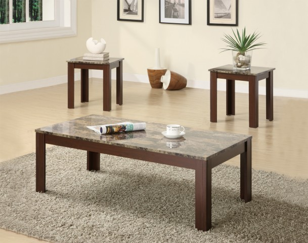 3 Piece Occasional Table Set With Marble Look Top 700395
