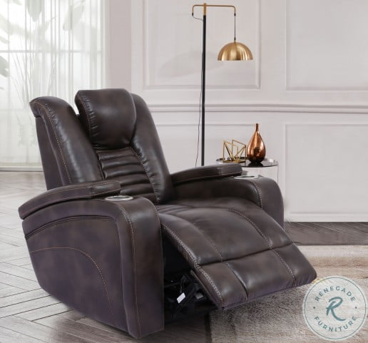 Harley Coffee Power Recliner with Power Headrest