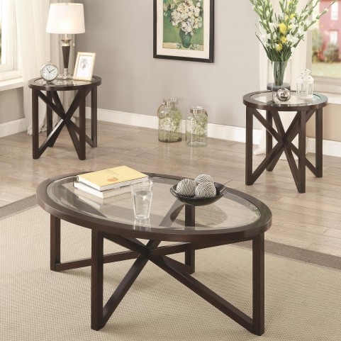 701004 3 Piece Cappuccino Occasional Table Set