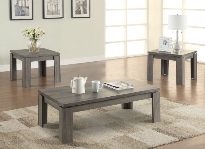 701686 3 Pieces Weathered Grey Occasional Table Set