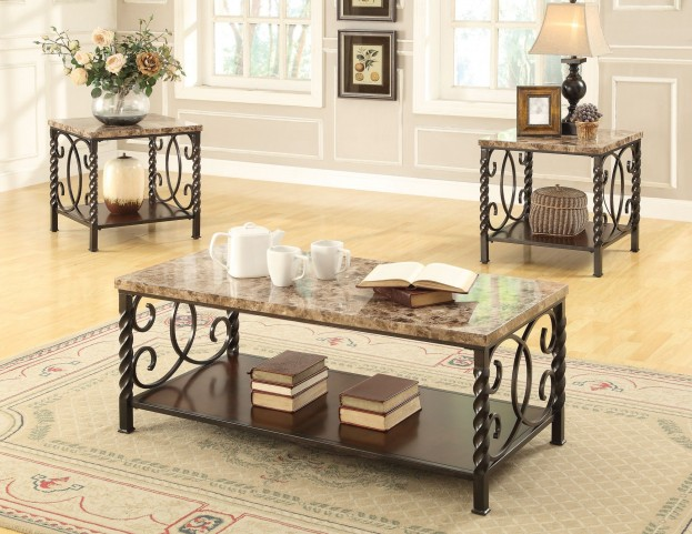 701695 Faux Marble & Dark Brown Metal 3 Pieces Occasional Table Set