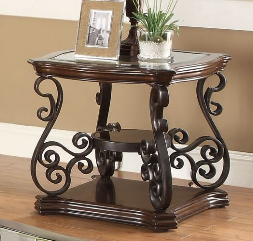 Mahogany Ornate Metal End Table