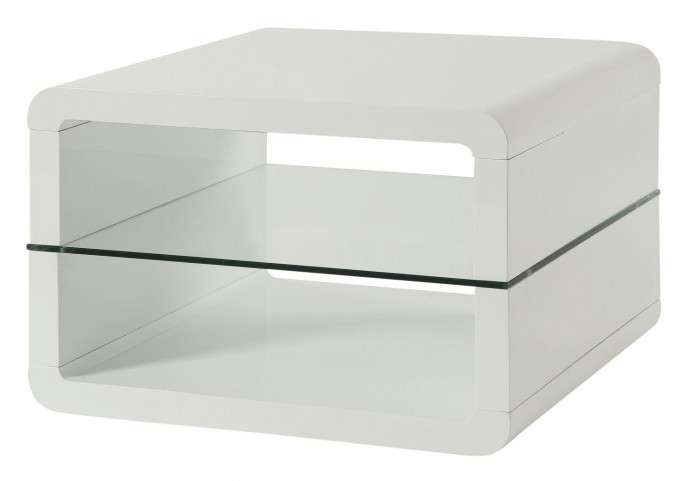 703267 Glossy White End Table