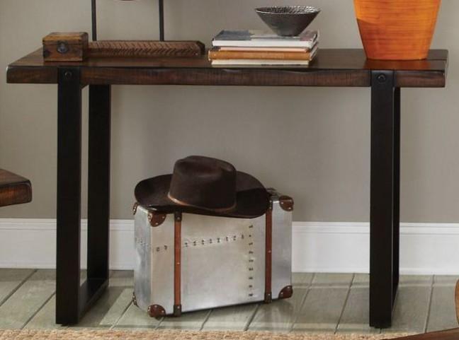 703429 Vintage Brown & Black Sofa Table