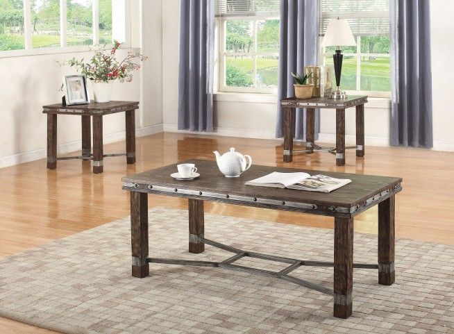 Sandblasted Brown Occasional Table Set
