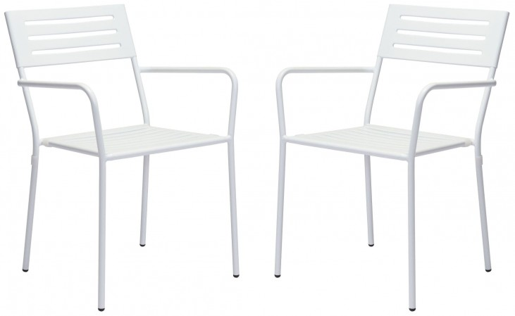 Wald White Dining Arm Chair Set of 2