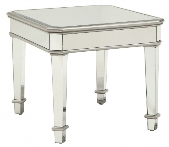 Silver Mirror Panel End Table