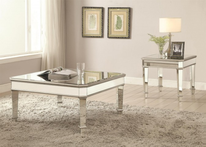 Silver Mirror Panel Occasional Table Set