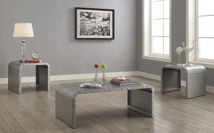 Galvanized Metal Occasional Table Set