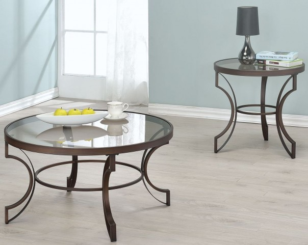 Bronze Metal Frame Occasional Table Set