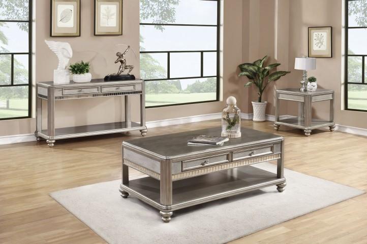 704618 Metallic Platinum Occasional Table Set
