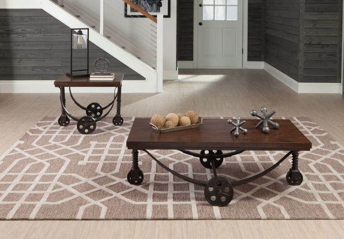 Chestnut and Rustic Bronze Occasional Table Set