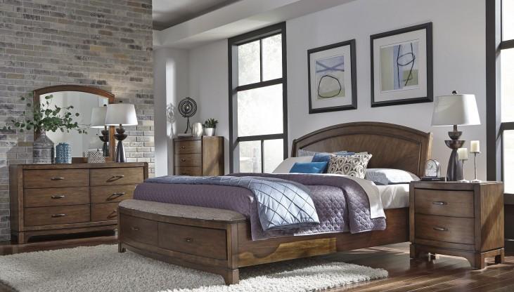 Avalon III Pebble Brown Panel Storage Bedroom Set