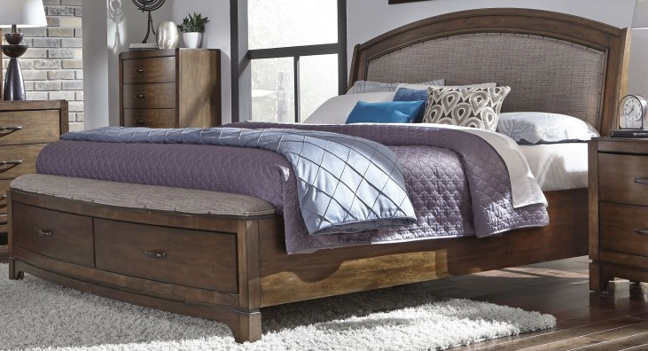 Avalon III Pebble Brown Queen Upholstered Storage Bed