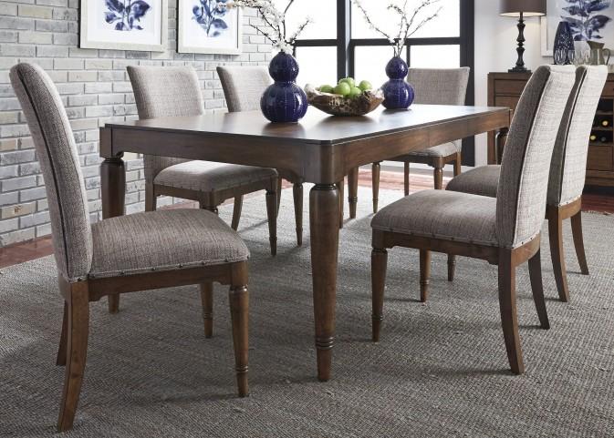 Avalon III Pebble Brown Extendable Rectangular Leg Dining Room Set