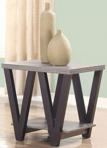 Antique Grey and Black End Table