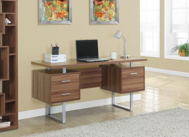 Walnut Hollow-Core/Silver Metal Office Desk