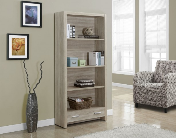 """Natural Reclaimed-Look 1 Drawer 71"""" Bookcase"""