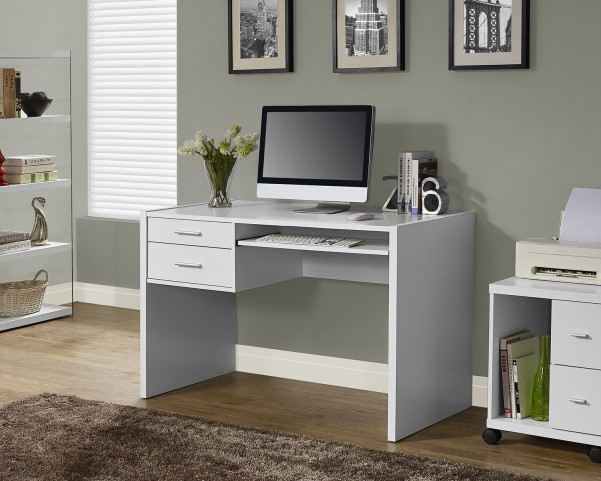 White Hollow-Core Computer Desk with 2 Side Drawers